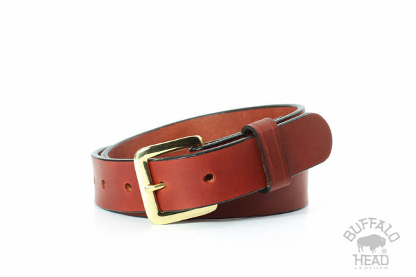 "English Bridle Leather 1 1/4"" Dress/Casual belt - Chestnut Brown - Hand Made in USA - Free Shipping"