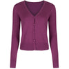 Purple Stretch V Neck Button Through Cardigan - Pretty Kitty Fashion
