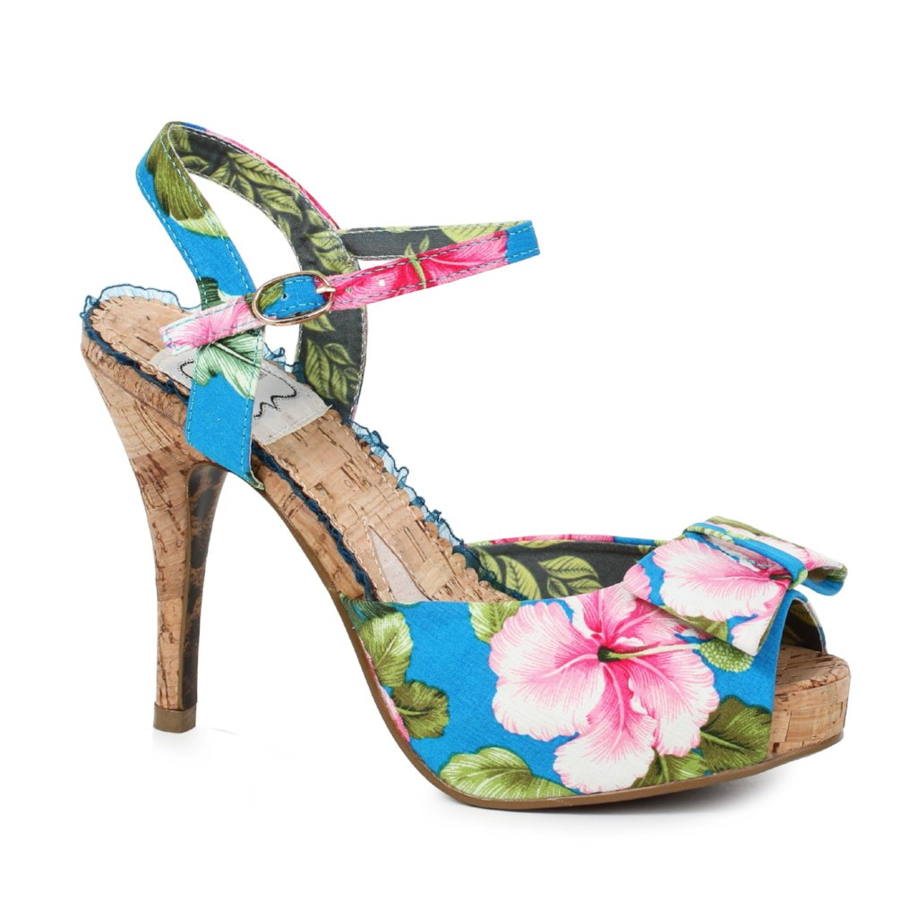 Bettie Page Blue Pink Floral High Heel Peep Toe Sandals - Pretty Kitty Fashion
