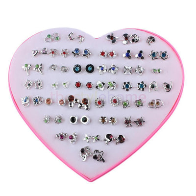 MagiDeal 36 Pairs Cute Stud Set Heart Box Lady Crystal Flower Earring Studs