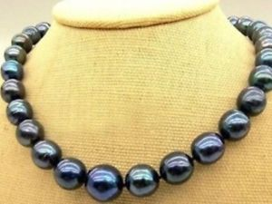"New 9-10mm Tahitian Black Natural Pearl Necklace 18"" AAA+"