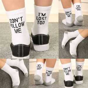 Alcoa Prime Women Men Sock Don't Follow Me I'm Lost Too Letter Printed Novel Gift Sock.AU