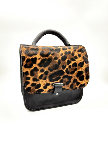 Black Leopard Print Top Handle Bag