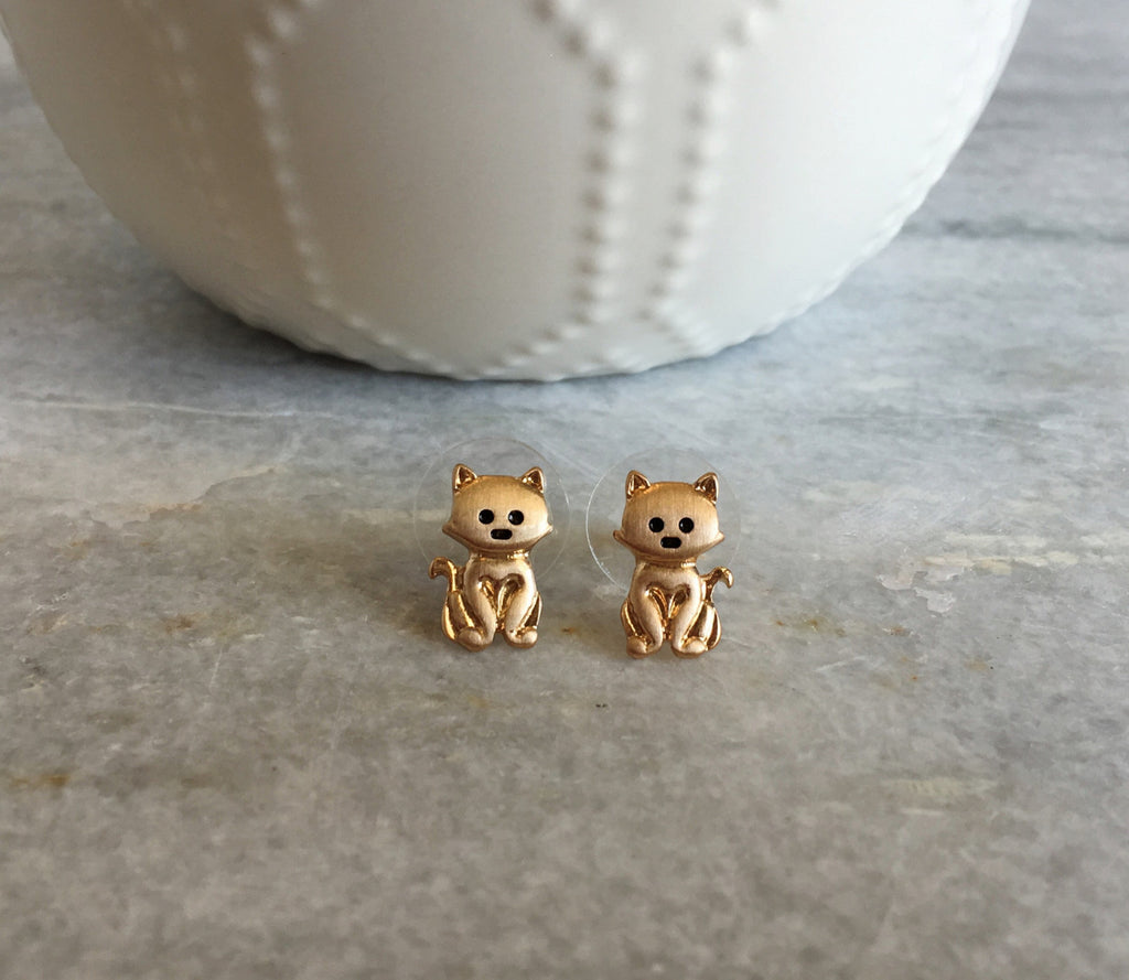 Tiny Cat Stud Earrings -Gold - Anna Jane  - 1