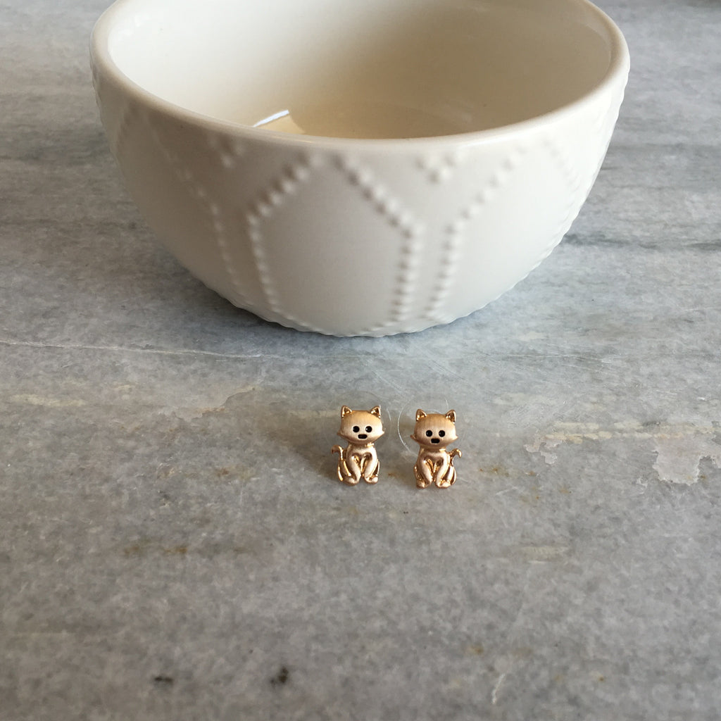 Tiny Cat Stud Earrings -Gold - Anna Jane  - 2