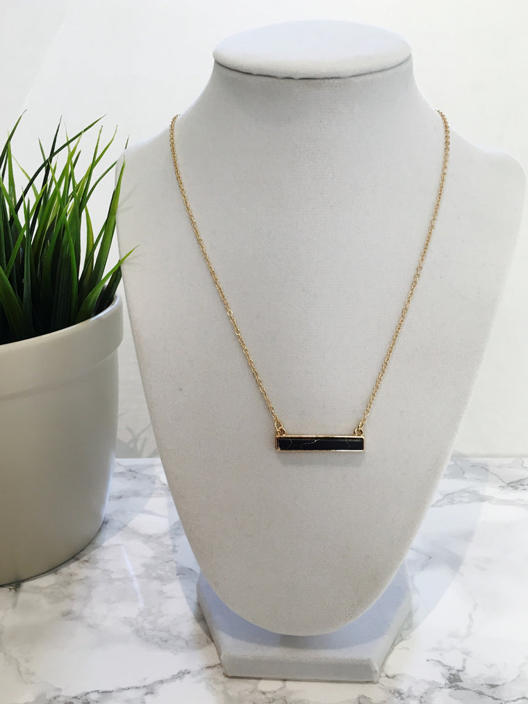Black Marble Stone Bar Necklace - Anna Jane  - 1