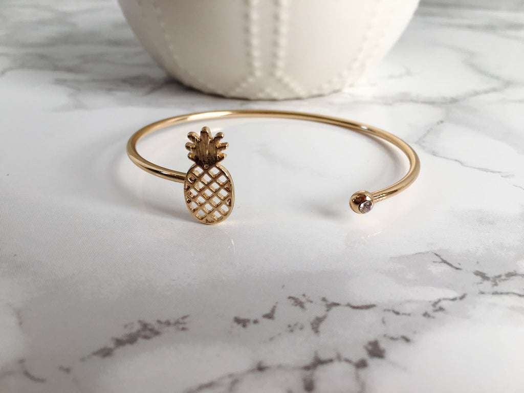 Pineapple Cuff Bracelet- Gold - Anna Jane  - 1