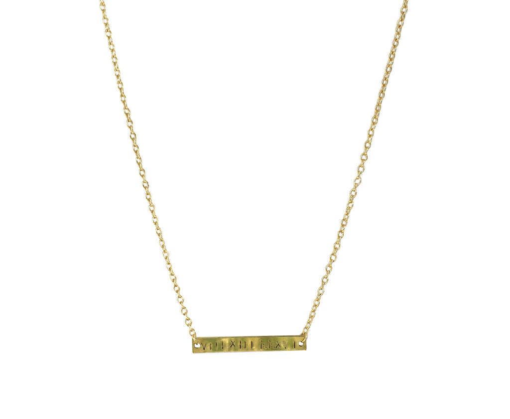 Personalized Gold Bar Necklace - Anna Jane  - 1