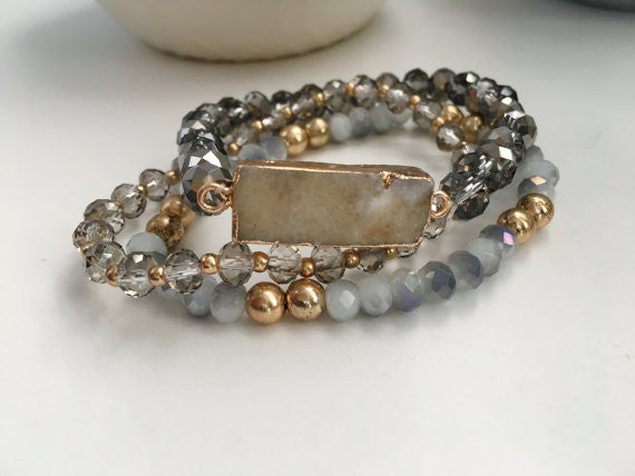 Natural Druzy Stone Bracelet- Gold & Gray