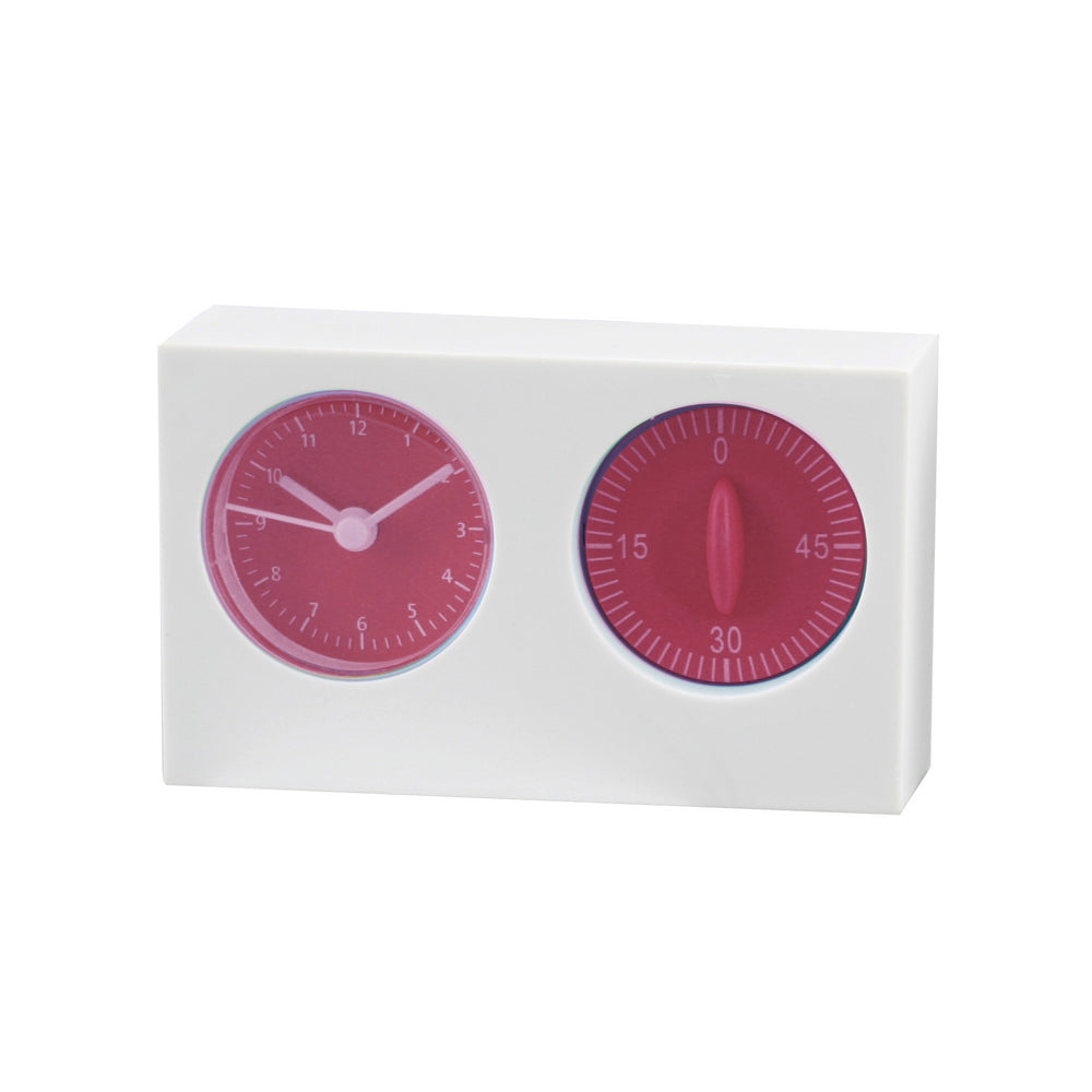Giftery White/Pink Kitchen Timer And Clock
