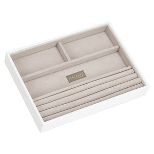 Stackers White & Grey Classic 4 Section Jewellery Tray