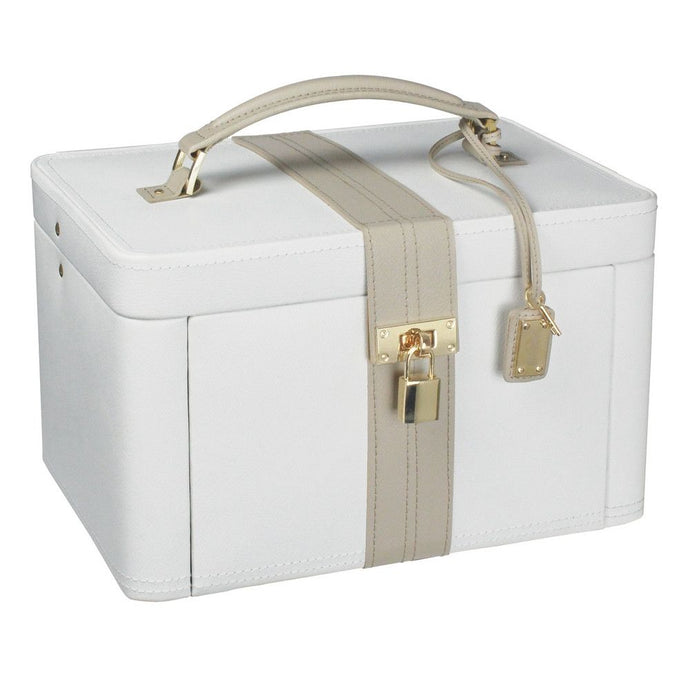 Dulwich Designs Leather Large Cream/Mink Jewellery Box with Padlock