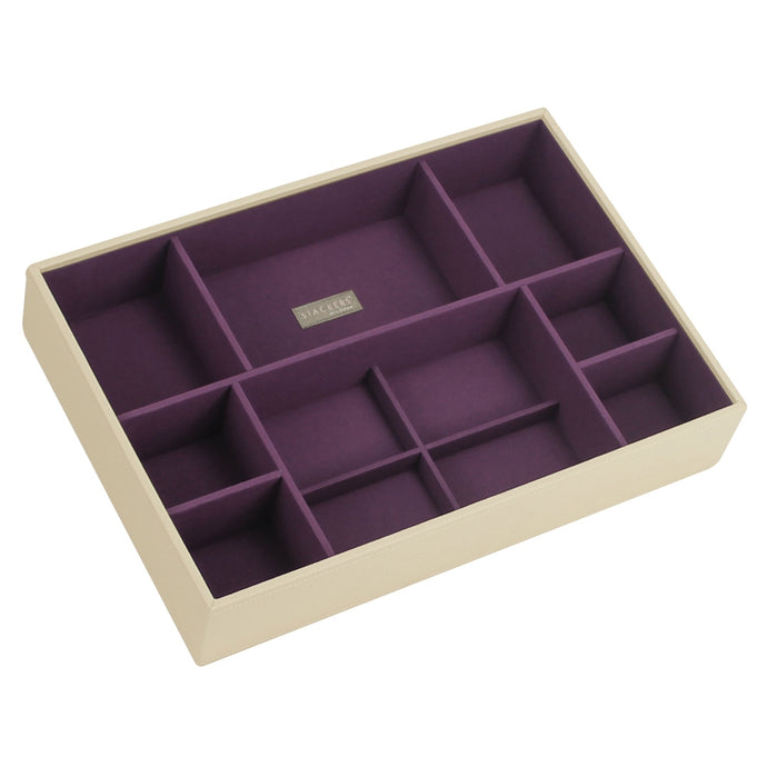Stackers Cream & Purple Supersize Deep Sectioned Jewellery Tray