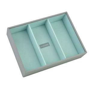 Stackers Dove Grey & Mint Classic Deep 3 Section Jewellery Tray