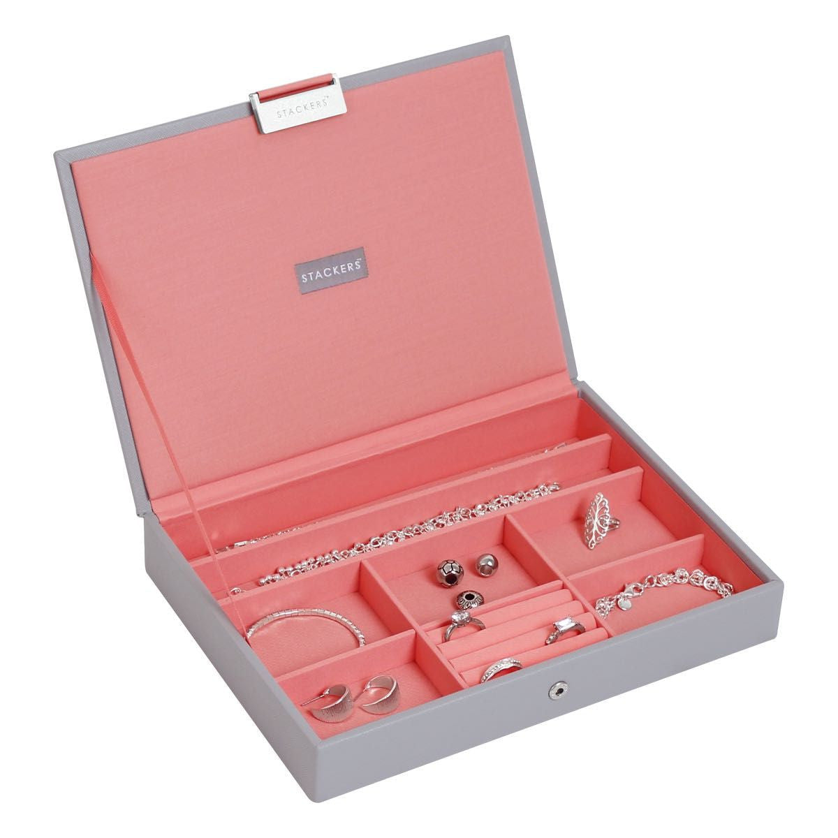 Stackers Dove Grey & Coral Classic Lidded Jewellery Tray