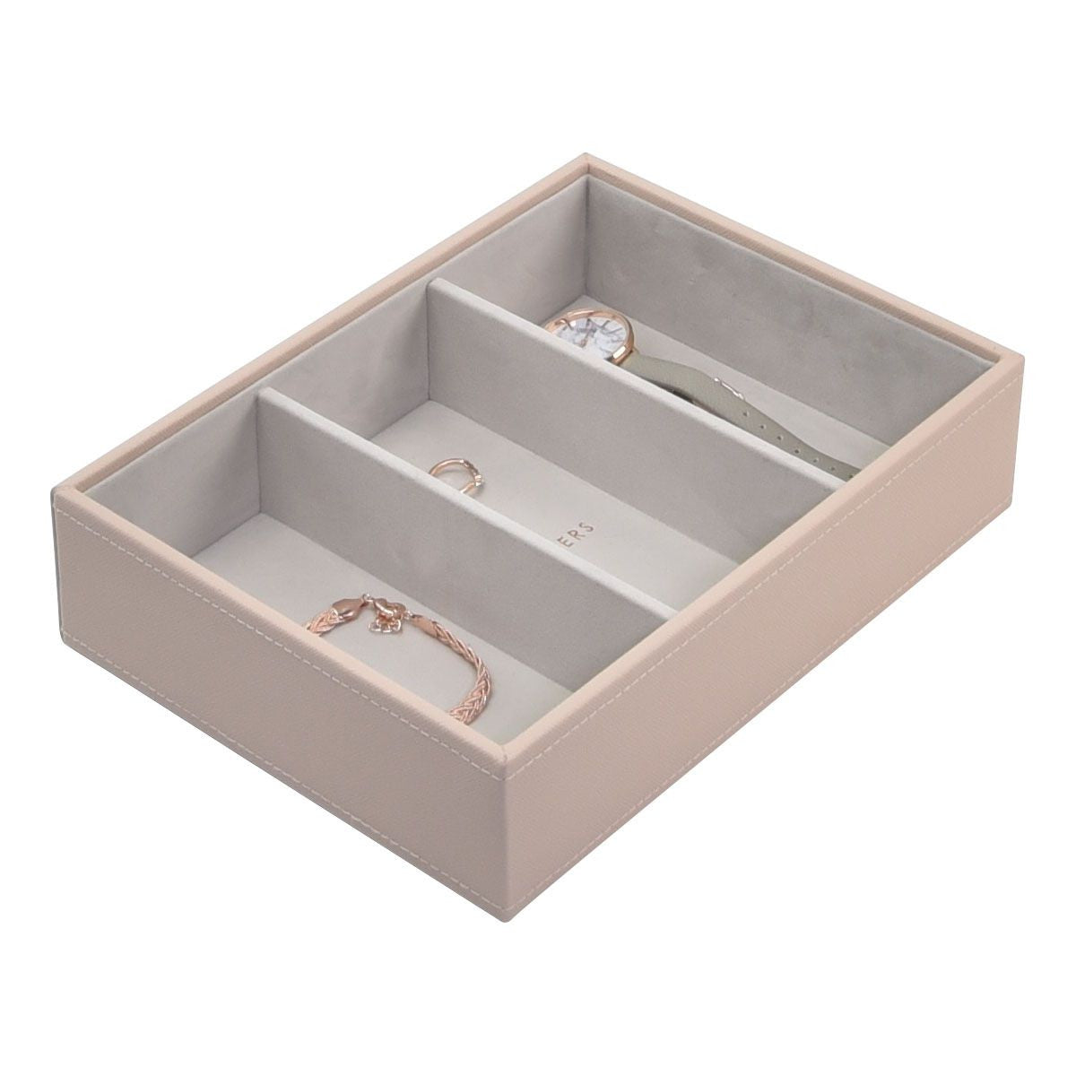 Stackers Blush Pink Classic Deep 3 Section Jewellery Tray