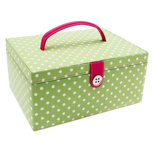 Button It Large Green Polka Dot Needlework/Sewing Box