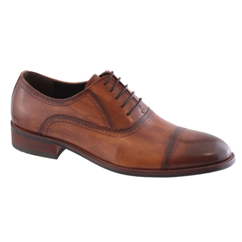 brown leather dress lace shoe