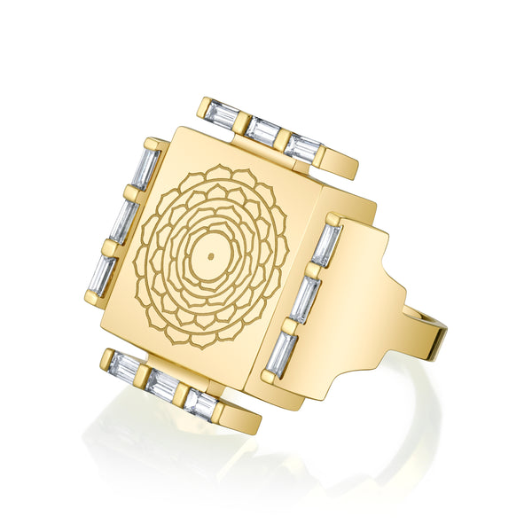 Engraved Manifestation Ring with Nitya Sarvamangala