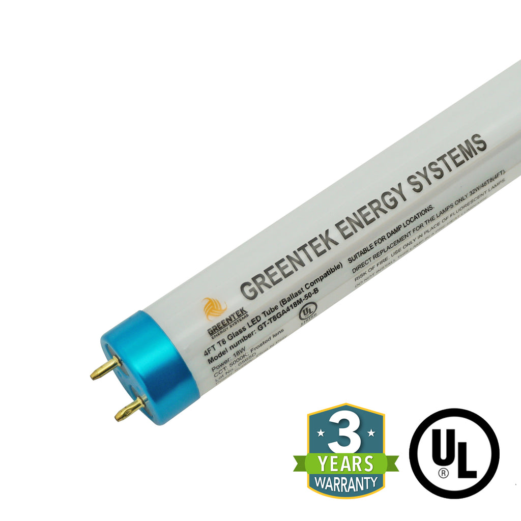 4ft 18W LED Linear Tube - Glass - Ballast Compatible Only -  Plug N Play - Will ONLY Work With A Ballast - (UL Type A) - Green Light Depot