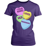 School Bus Driver - Candy Hearts - District Made Womens Shirt / Purple / S - 10