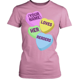 Librarian - Candy Hearts Readers - District Made Womens Shirt / Pink / S - 11