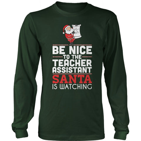 Teacher Assistant - Be Nice Holiday - District Long Sleeve / Dark Green / S - 1