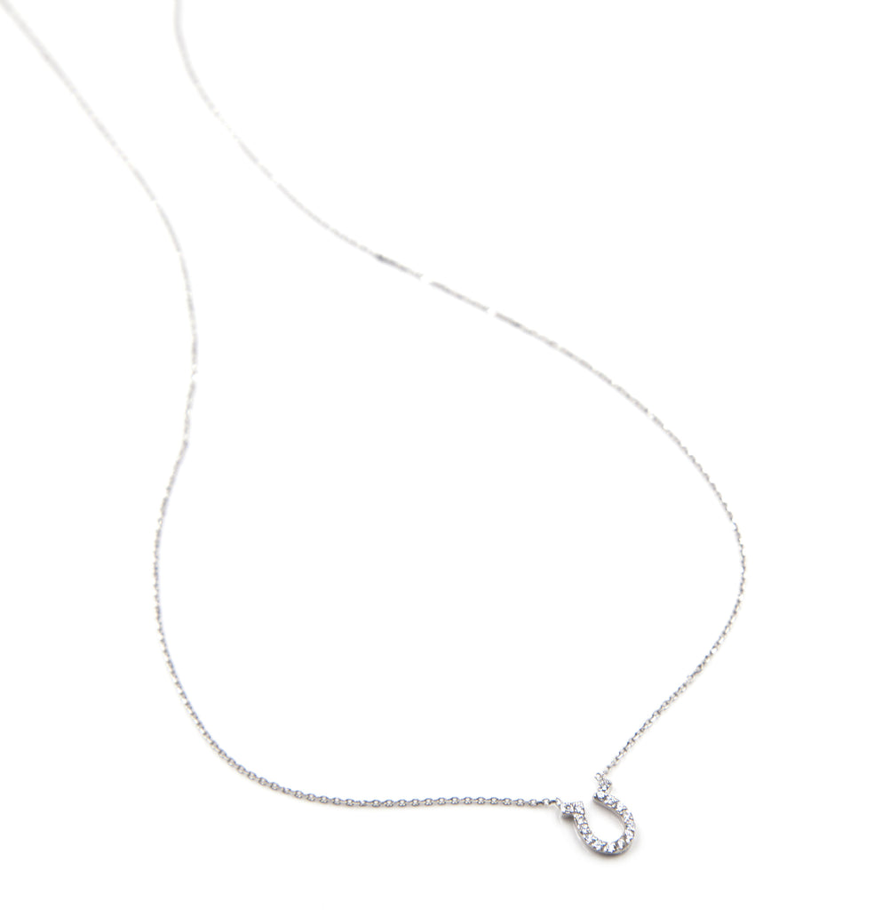 Pave Horseshoe Necklace, Silver