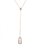 Four Corners Lariat Necklace, Rose Gold