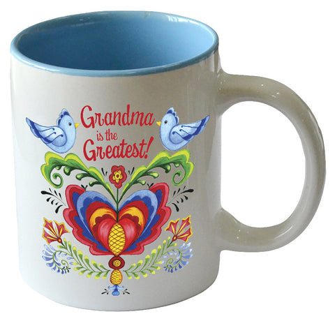 """Grandma is the Greatest"" / Bird Design Ceramic Coffee Cup - DutchNovelties"