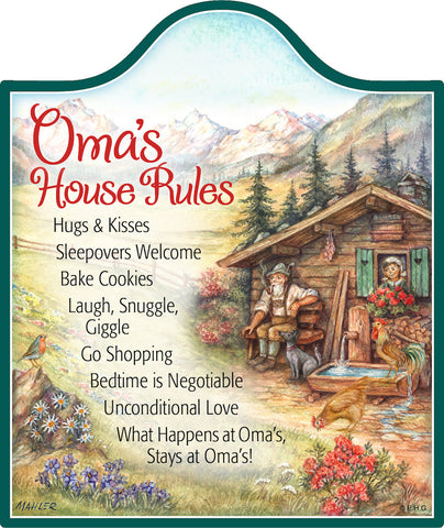 Cork Backed Ceramic Cheeseboard: Oma's House Rules - DutchNovelties  - 1