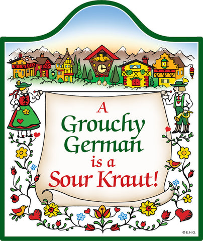 Cork Backed Ceramic Cheeseboard: Grouchy German - DutchNovelties  - 1