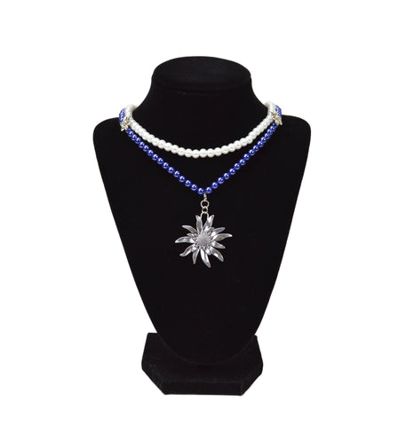 Blue and White Pearl Edelweiss Necklace - DutchNovelties