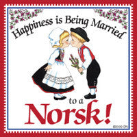 Norwegian Magnet Tile (Happiness Married To Norsk) - DutchNovelties