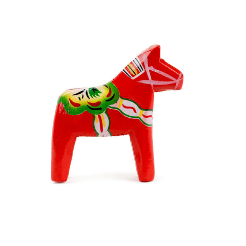 Red Dalarna Horse Wood Figurine 2""
