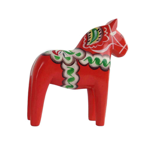 "Red Swedish Horse Wood Figurine 2.75"" - DutchNovelties"