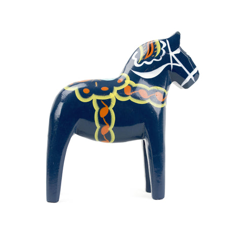 "Blue Dalarna Wood Horse Blue 4"" - DutchNovelties"