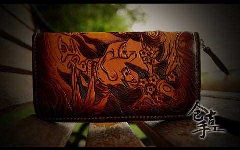 Japanese Hannya Demon Mask Handmade Authentic Leather Wallet