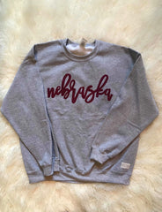 MAROON NEBRASKA ON LIGHT GREY CREW
