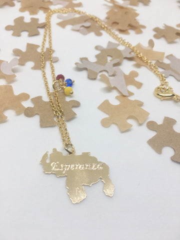 "Puzzle Design Gold ""Esperanza"" Venezuela Map Necklace"