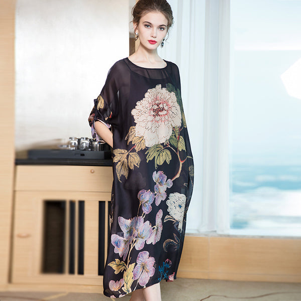 Black Cute Print Chiffon Dresses For Women Q15016