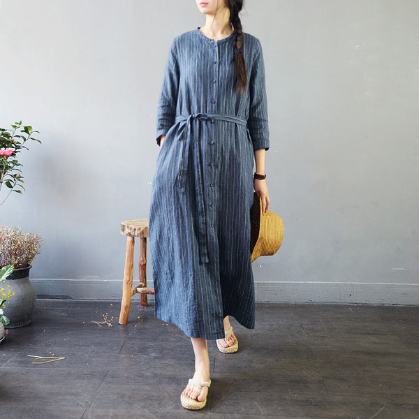Blue Loose Striped Linen Long Coat Women Spring Casual Outfits S753