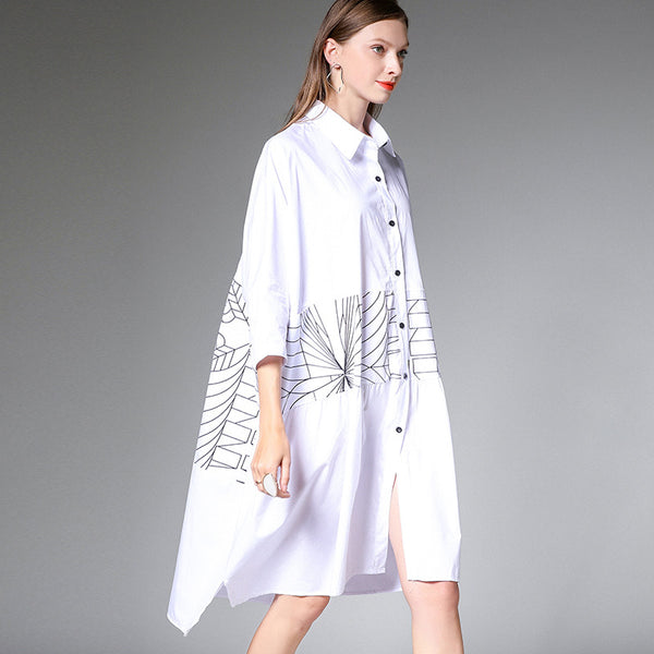 Plus White And Black Loose Blouse Women Summer Casual Shirt 7209