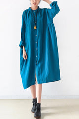 Blue Women Loose Fitting Gown Single Breasted Large Size Maxi Dress Long Shirt Dress Q0805