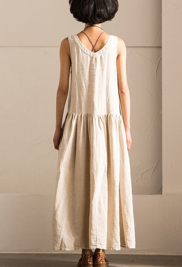 Pre-Order V-neck Sexy Cotton Linen Simple Sleeveless Long Dress Summer Women Clothes Q018B - FantasyLinen