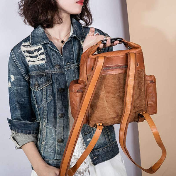 FantasyLinen Vintage Handmade Full Grain Leather Backpack, Fashion School Bag B87180 - FantasyLinen