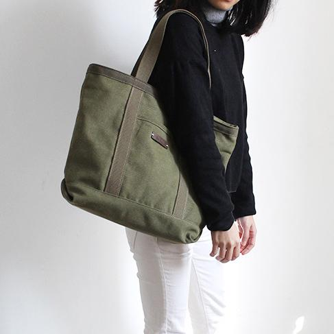 FantasyLinen Canvas Simple Tote Bag, Handmade Vintage Shoulder Bag in Army Green B50001 - FantasyLinen