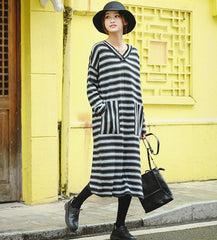 Women Casual Gray Striped Loose Sweater Dresses For Winter Z81038