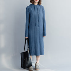 Cute Women Hoodie Fitted Maxi Sweater Dresses For Winter Q3127