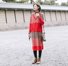 Cute Red Striped Loose Sweater Dresses Women Casual Clothes Z81235